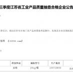 2013年第一季度江苏省工业产品质量抽查合格